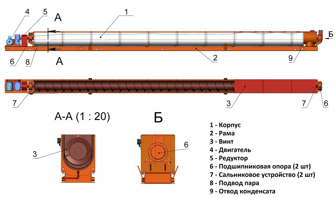 Конвейер шнековый безопорный КШГ40х12,5 (внутренний)